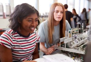 Students collaborating on robotics